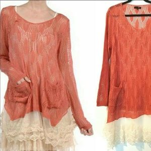 Coral lace sweater by RYU for Anthropologie